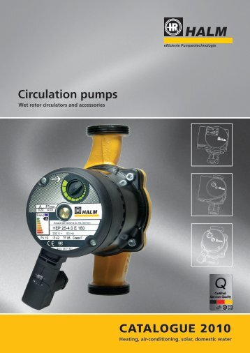 Circulation pumps CATALOGUE 2010 - halm.info