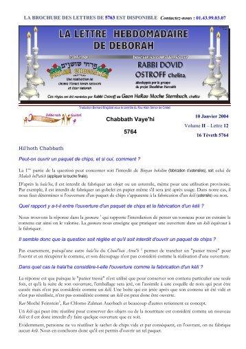 Volume II - lettre n°12 - Association Deborah Guitel