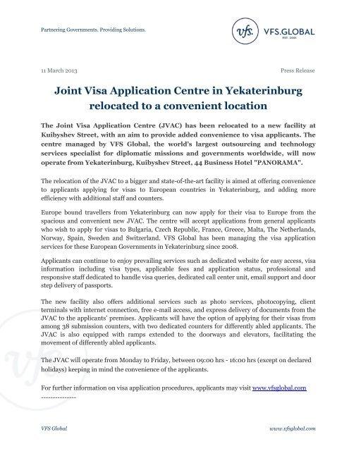 Joint Visa Application Centre in Yekaterinburg     - VFS Global