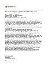 Neue Trainingsanzüge bei Sport Greifenberg - Firmendb