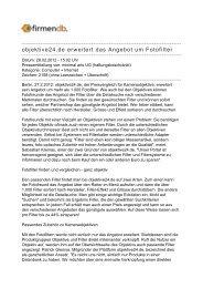 objektive24.de erweitert das Angebot um Fotofilter - Firmendb