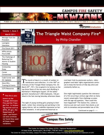 The Triangle Waist Company Fire* - Center for Campus Fire Safety