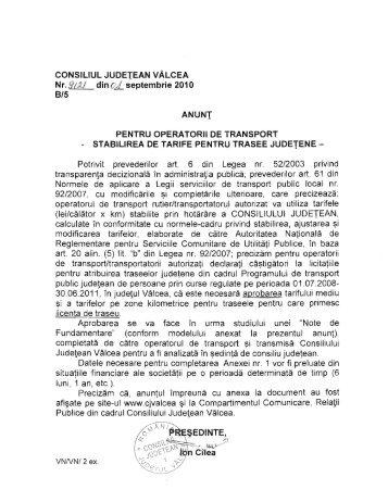 6. Anunt pentru operatorii de transport - Consiliul Judetean Valcea