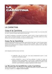 LA CARNITINA Cosa è la Carnitina Cosa Fa la ... - Ultimate Italia