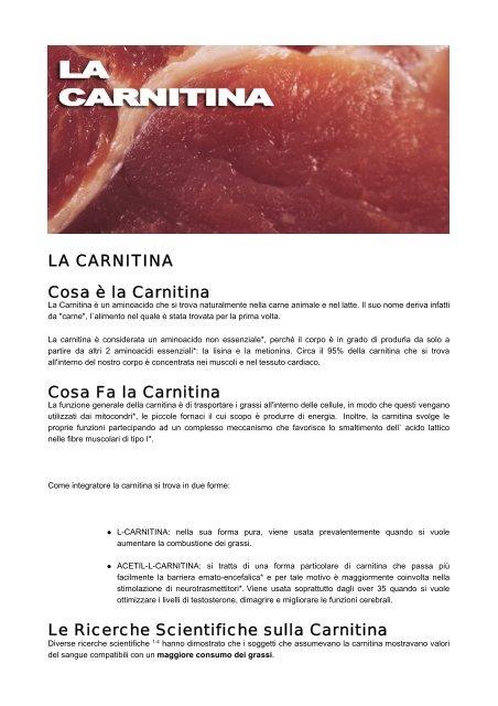 l carnitina è usata per bruciare i grassi