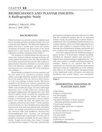 BIOMECHANICS AND PLANTAR FASCIITIS - The Podiatry Institute