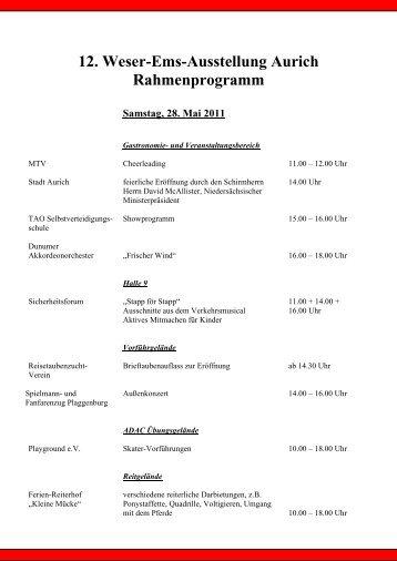 12. Weser-Ems-Ausstellung Aurich Rahmenprogramm
