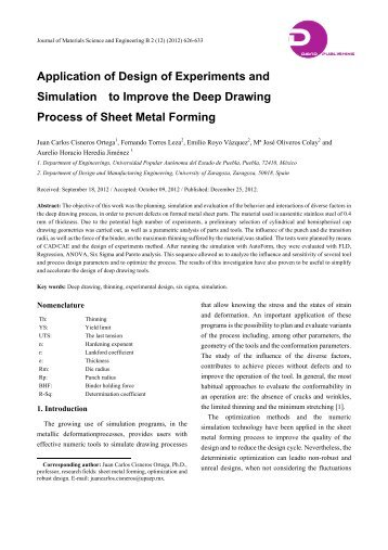 Application of Design of Experiments and ... - David Publishing