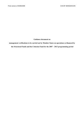 Guidance document on management verifications