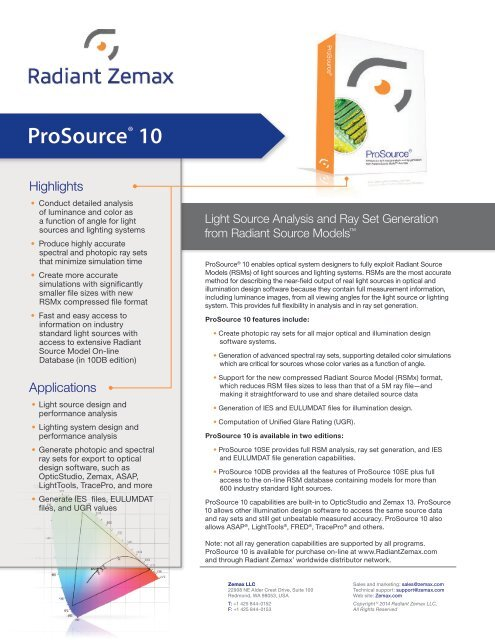 ProSource® 10 Light Source Analysis and Ray Set     - Zemax