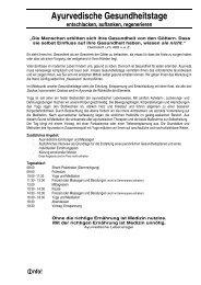 Ayurvedische Gesundheitstage - Ausbildungsinstitute.de