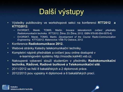 Inovace laboratorních cvičení předmětu Radiokomunikační technika