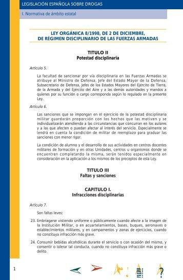 ley orgánica 8/1998, de 2 de diciembre, de régimen disciplinario
