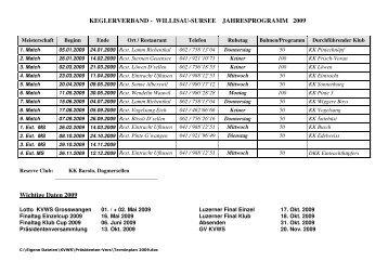 Jahresprogramm 2009 - Unterverband Willisau-Sursee der SFKV