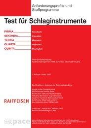 Test für Schlaginstrumente - Schweizer Blasmusikverband SBV