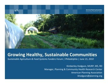 Growing Healthy, Sustainable Communities - safsf