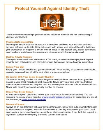 Protect Yourself Against Identity Theft - Care For The Troops