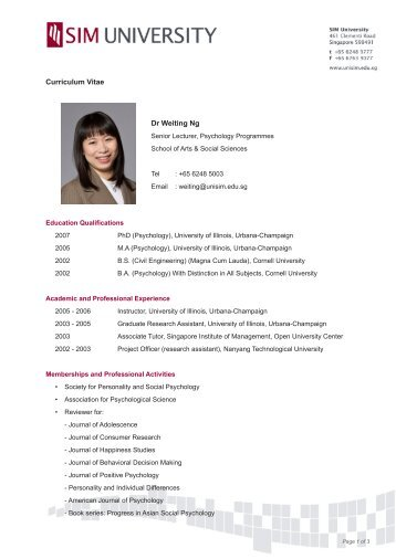 associate professor chui yoon ping curriculum vitae sim