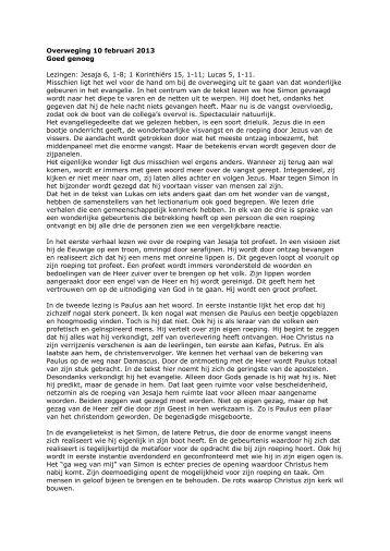 Overweging 10 februari 2013 Goed genoeg Lezingen: Jesaja 6, 1-8 ...