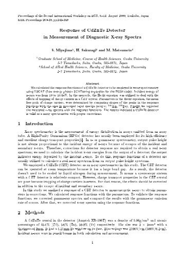 Response of CdZnTe Detector in Measurement of Diagnostic X-ray ...