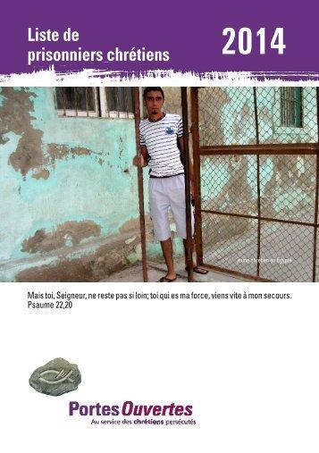 Liste de prisonniers chrétiens 2012