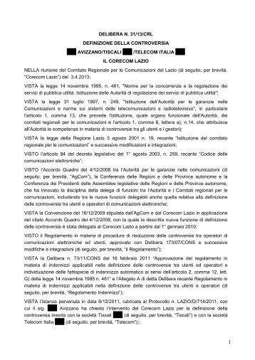 Delibera 31/13/CRL - Corecom Lazio