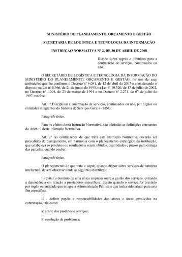 Instrução Normativa nº 2/2008/MPOG