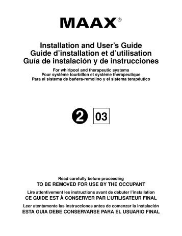 Wonderful Installation And Useru0027s Guide Guide Du0027installation Et D ...   Maax