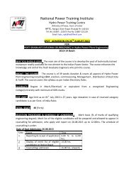 Spot Admission notice for Post Graduate Diploma ... - NPTI (Nangal)