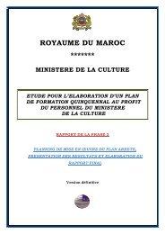royaume du maroc ******* ministere de la culture etude pour l ...
