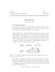 Homework # 1 - The Circuits and Biology Lab at UMN