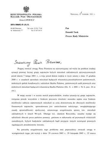 RZECZPOSPOLITA POLSKA Rzecznik Praw Obywatelskich Irena ...