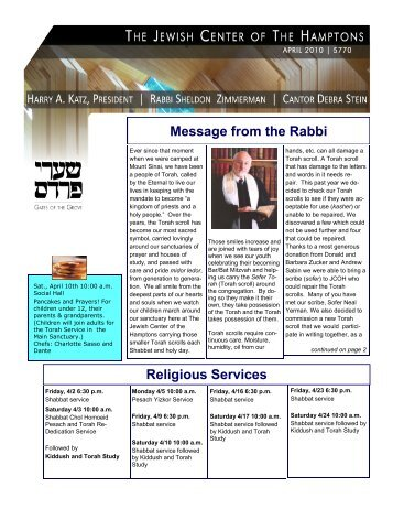 Religious Services Message from the Rabbi - Jewish Center of the ...