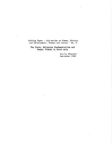Working Paper - Sub-series on Women, History and Development ...