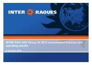 INTER RAO UES Group 1H 2012 consolidated financial and ...