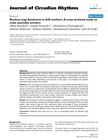 Restless Legs Syndrome in shift workers - BioMed Central