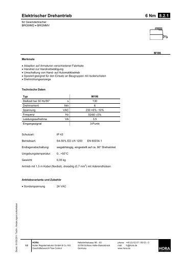 Elektrischer Drehantrieb 6 Nm 8.2.1. - HORA