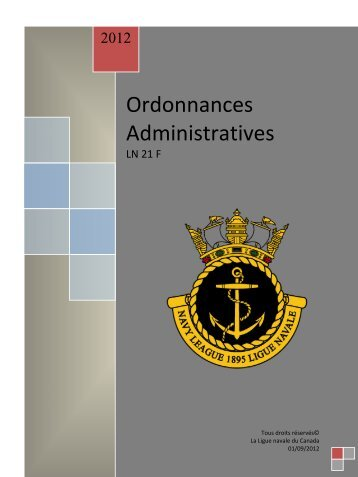 Ordonnances Administratives - The Navy League of Canada