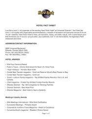 Hard Rock Hotel Fact Sheet - Universal Orlando Resort Media Site