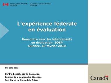 Présentation par le Centre d'excellence en évaluation du Secrétariat ...