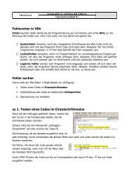 Fehlerarten in VBA Fehler suchen zu 1. Testen eines ... - Klassenwiki