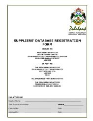suppliers' database registration form - Zululand District Municipality