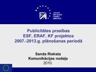Publicitātes prasības ESF, ERAF, KF projektos 2007 ... - ES fondi