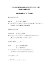 JOURNEE REGIONALE DE MESOTHERAPIE DE LYON Samedi 31 ...