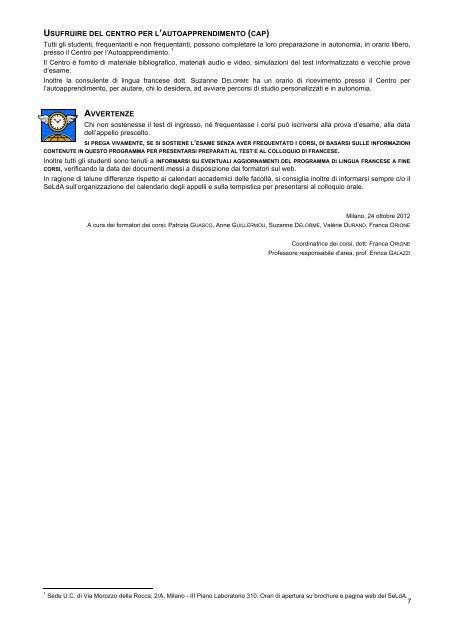 Calendario Lezioni Unicatt.Colloquio Orale