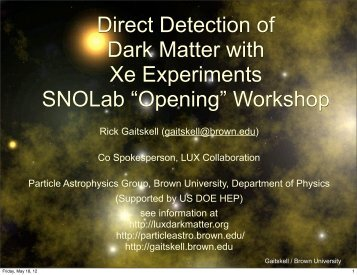 Direct Detection of Dark Matter with Xe Experiments SNOLab ...