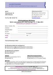 Rückmeldebogen Workshop - MEG Jahrestagung 2014