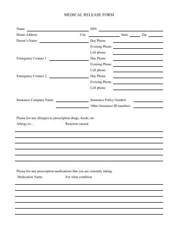Summer Camp Medical Release Form