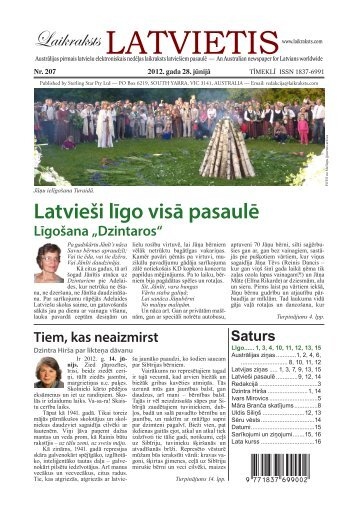 """Laikraksts """"Latvietis"""" 207"""