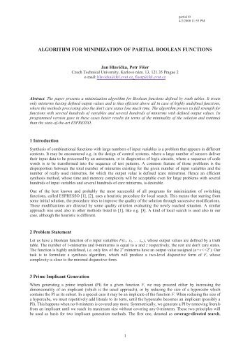 algorithm for minimization of partial boolean functions - Czech ...